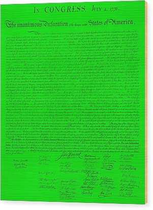 The Declaration Of Independence In Green Wood Print by Rob Hans