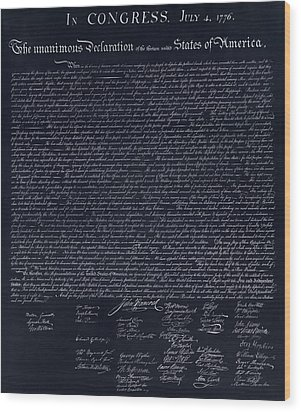 The Declaration Of Independence In Negative  Wood Print by Rob Hans