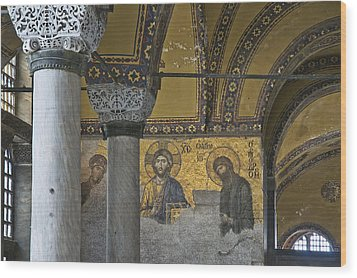 The Deesis Mosaic At Hagia Sophia Wood Print by Ayhan Altun