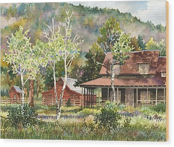 The Delonde Homestead At Caribou Ranch Wood Print by Anne Gifford