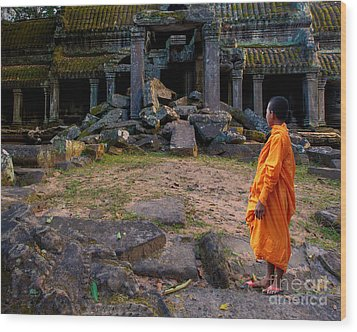 The Destruction Of Ta Prohm Wood Print by Pete Reynolds