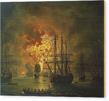 The Destruction Of The Turkish Fleet At The Bay Of Chesma Wood Print by Jacob Philippe Hackert