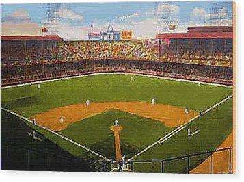 The Detroit Tigers Briggs Stadium Around 1940 Wood Print by Dwight Goss