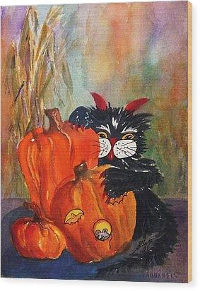 The Devil Made Me Do It Wood Print by Ellen Levinson