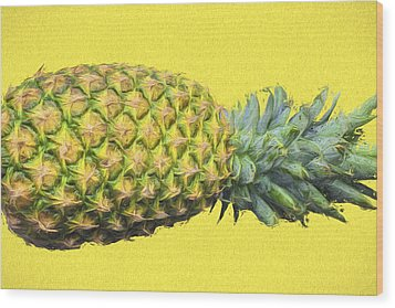The Digitally Painted Pineapple Sideways Wood Print by David Haskett