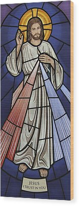 Wood Print featuring the glass art The Divine Mercy by Gilroy Stained Glass