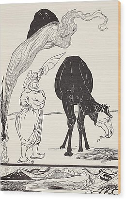 The Djinn In Charge Of All Deserts Guiding The Magic With His Magic Fan Wood Print by Joseph Rudyard Kipling