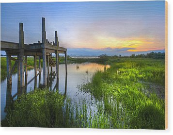 The Dock Wood Print by Debra and Dave Vanderlaan