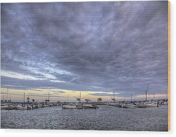 The Docks At Bay Shore Wood Print