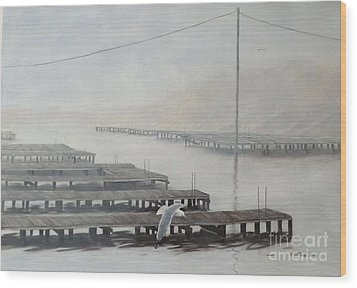 The Docks Wood Print by Gilles Delage