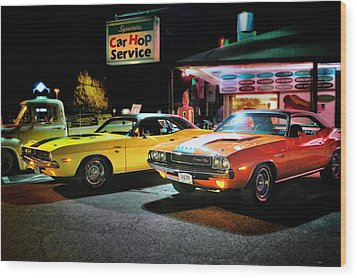 The Dodge Boys - Cruise Night At The Sycamore Wood Print by Thomas Schoeller