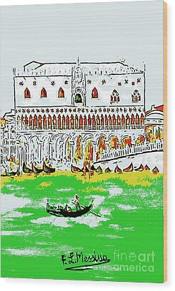 Wood Print featuring the painting The Doge's Palace by Loredana Messina