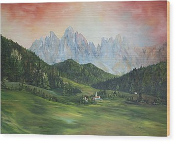 Wood Print featuring the painting The Dolomites Italy by Jean Walker