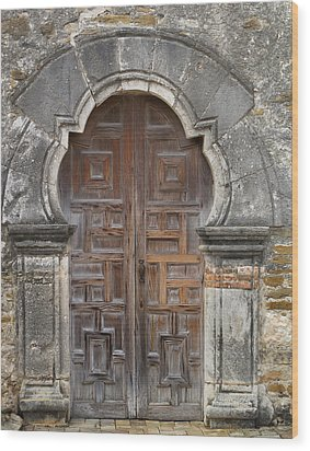 The Door Of Espada Mission  Wood Print by David and Carol Kelly