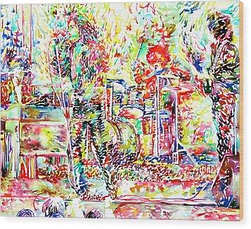 The Doors Live Concert Portrait Wood Print by Fabrizio Cassetta