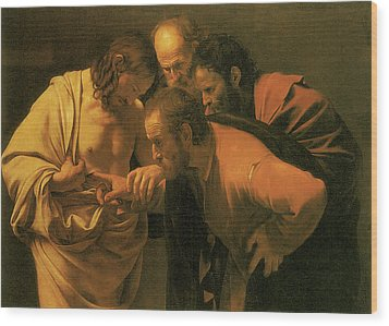 The Doubting Of St Thomas Wood Print by Caravaggio