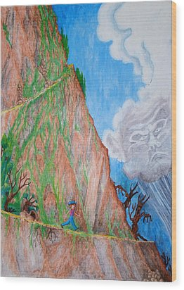 Wood Print featuring the painting The Downward Path by Matt Konar