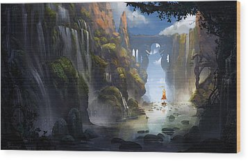 The Dragon Land Wood Print by Kristina Vardazaryan
