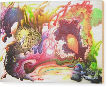 Wood Print featuring the painting The Dragon by Lucy Matta