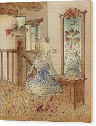 The Dream Cat 11 Wood Print by Kestutis Kasparavicius