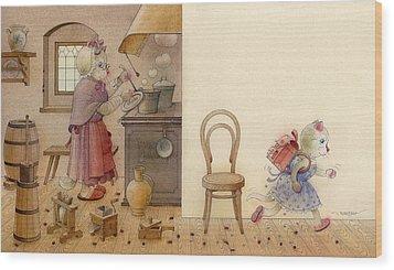 The Dream Cat 12 Wood Print by Kestutis Kasparavicius