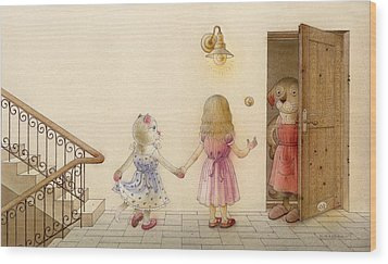 The Dream Cat 18 Wood Print by Kestutis Kasparavicius