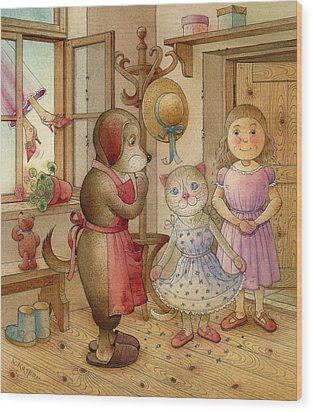 The Dream Cat 19 Wood Print by Kestutis Kasparavicius