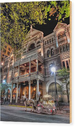 The Driskill Hotel Wood Print by Tim Stanley