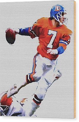 The Drive  John Elway Wood Print by Iconic Images Art Gallery David Pucciarelli