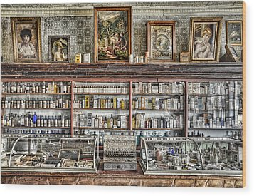 The Drug Store Counter Wood Print by Ken Smith