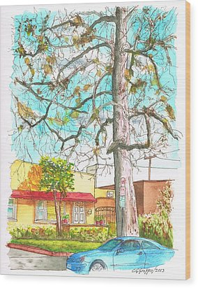 The Dry Tree In The Yellow House - Hollywood - California Wood Print by Carlos G Groppa