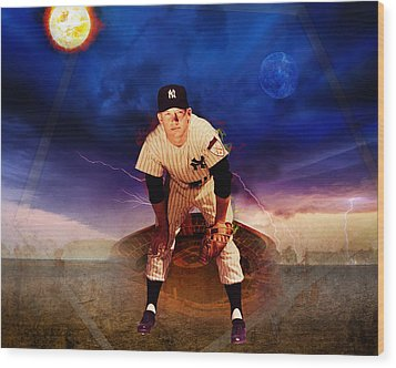 The Duality Of Mickey Mantle American Hero Wood Print