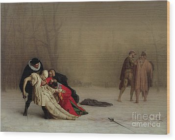 The Duel After The Masquerade Wood Print by Jean Leon Gerome