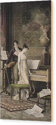 The Duet Wood Print by Karl the Elder Schweninger