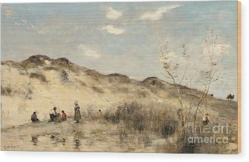 The Dunes Of Dunkirk Wood Print by Jean Baptiste Camille Corot