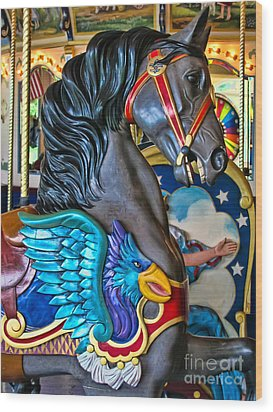 The Eagle And Horse Wood Print by Colleen Kammerer