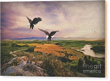 Wood Print featuring the digital art The Eagle Will Rise Again by Lianne Schneider