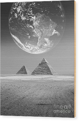 The Earth With Egyptian Pyramids  Wood Print