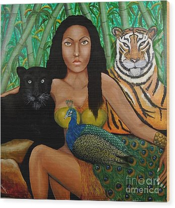 The Earth Woman Wood Print by Saranya Haridasan
