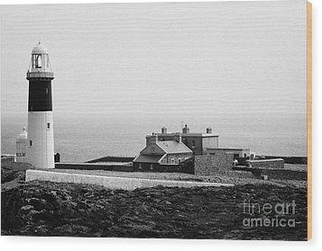 The East Light Lighthouse And Buildings Altacarry Altacorry Head Rathlin Island Northern Ireland Wood Print by Joe Fox