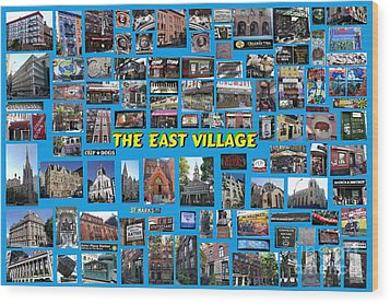 Wood Print featuring the digital art The East Village Collage by Steven Spak