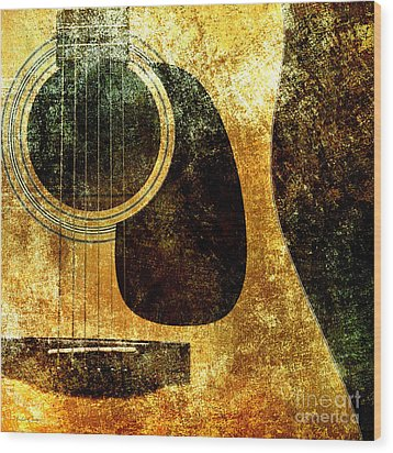 The Edgy Abstract Guitar Square Wood Print by Andee Design