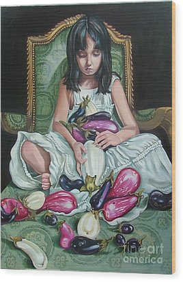 The Eggplant Princess Wood Print by Shelley Laffal