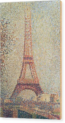 The Eiffel Tower Wood Print by Georges Pierre Seurat