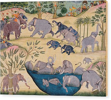 The Elephant Hunt Wood Print