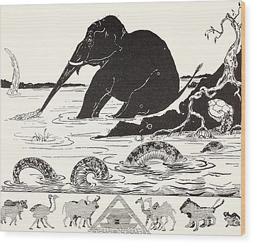 The Elephant's Child Having His Nose Pulled By The Crocodile Wood Print