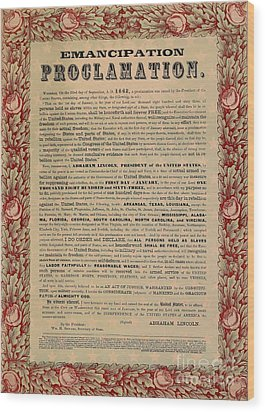 The Emancipation Proclamation Wood Print by American School
