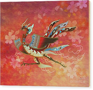 The Empress - Flight Of Phoenix - Red Version Wood Print by Bedros Awak