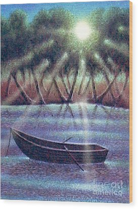 The Empty Boat Wood Print by Cristophers Dream Artistry