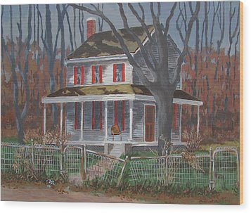Wood Print featuring the painting The Empty Chair by Tony Caviston